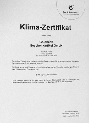 Zertifikat archive goldbach geschenkartikel gmbh for Geschenkartikel katalog